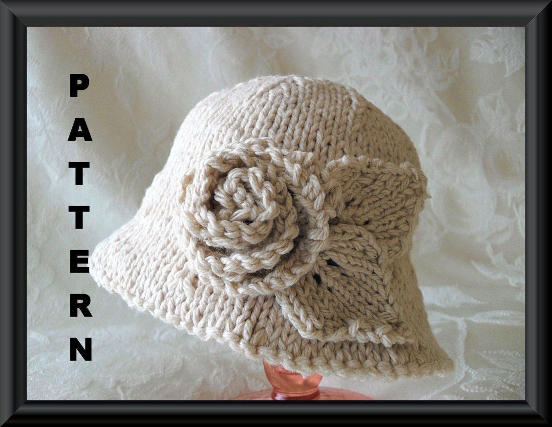 Knitting Pattern For Baby Hat With Brim : Knitted Hat Pattern Instant Download Hat Pattern Bonnet