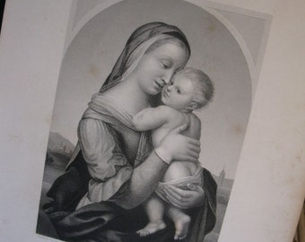 c1850's Steel Engraving Madonna and Child - Tempi Madonna by Raphael Sanzio
