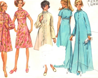 70s A-Line Dress & Coat Simplicity 9122 Vintage Sewing Pattern, Size 14, Bust 36
