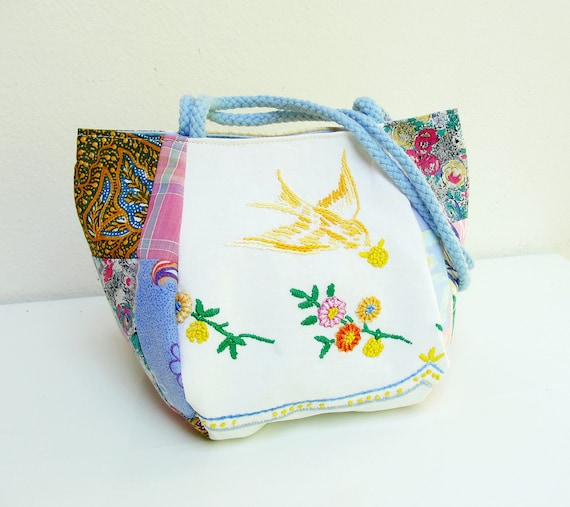 The Birds Bring the Sun Bag - Vintage Embroidery and Patchwork