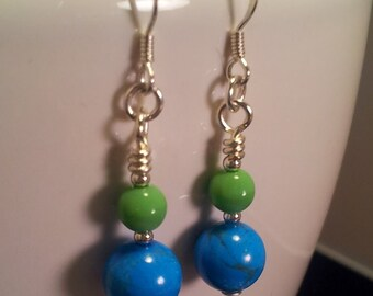 Turquoise and Green Earrings