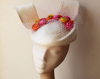 Oversized Straw beret with Flowers and Veiling - Unusual striking and bright, great for the races or a wedding, can be made in other colours