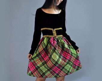 vintage 60s Party Dress / Empire Dress Gold Brocaide Trims & Full Skirt / Velvet Dress Plunge Back Dress S / M