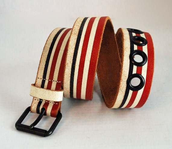 70s Distressed Vintage LEATHER BELT / Red White & Blue Mod Hippie Belt / Faconnable Italy Leather Belt Waist 30-34