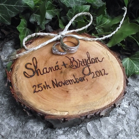 Personalized Wood Ring Bearer Pillow - Eco-Friendly Wood Burned Ohio Cherry Wood - Rustic Eco-Chic for Outdoor Cottage or Woodland Wedding