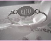 Sterling Silver Oval Child Baby Bangle - Engravable