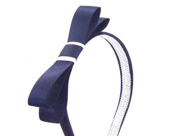 Navy and White Bow Headband - The Wendy - Nautical Headband - Large Bow Headband - Blair Waldorf Style Gossip Girl Adult Bow Headband