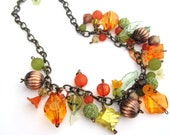 Fall Medley Necklace With FREE Earrings, fall, autumn, flowers, leaves, orange, green, copper