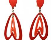 Vintage Neon Earrings Enamel Metal Dangle Heart Clip-ons