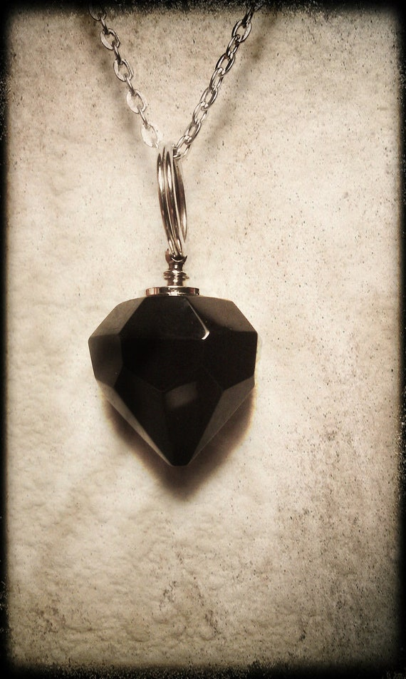 "Black Crystal Diamond Mourning Stone CREMATION URN on 18"" Silver Necklace  -   with Velvet Pouch and Mini Funnel"