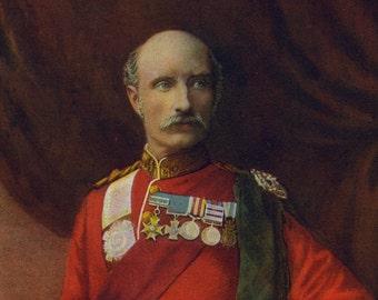 1900, LIEUT.-GEN, Sir George White, Large Antique Print, Army 16, South Africa Field Service, Uniform, Moustache, Commander