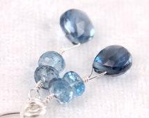 London Blue Topaz Earrings, Gemstone, Drops, Sterling Silver