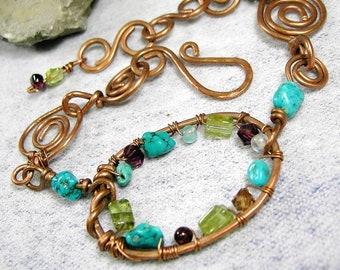 Turquoise Bracelet Spiral Wire Wrapped Peridot Gemstone Copper Link Bracelet