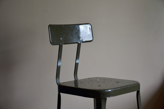 RESERVED for davidsnyc.  Industrial Chic.  Vintage Army Green LYON Metal Stool. Rare Color.