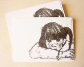 Illustrated art card -black ink- thoughtful