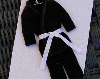 BLACK Uniform/CHOOSE Belt Color - Martial Arts Christmas Ornament