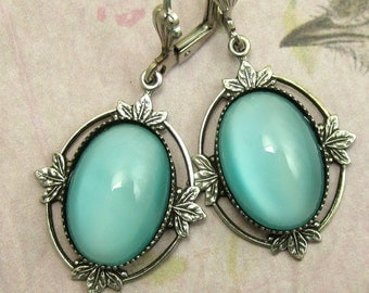 Vintage Glass Aqua Blue Earrings with Antique Silver Gothic Filagree and Earwire