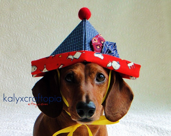 Dog Sailor Puppy Hat for Birthdays Pirating Partying and More - Primary Red Blue Yellow Puppy Print
