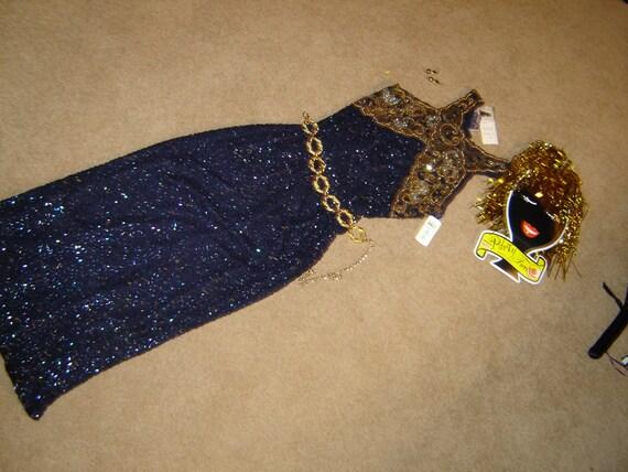 Costume Egypt  Cleopatra navy sheath dress beaded collar wig hat S womans