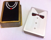 Vintage Tuxedo and Pearls playing cards. Double deck.  2 complete decks.  Formal Black tie and little black dress.  His and hers.