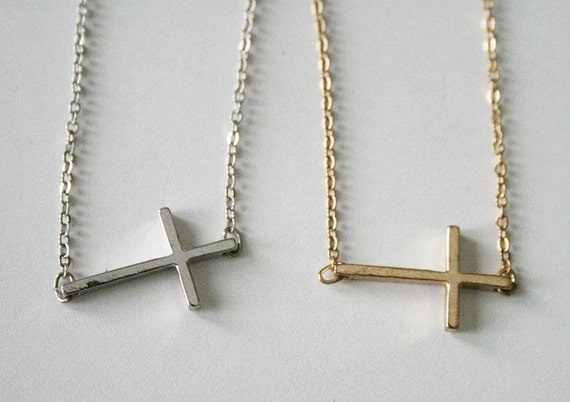Silver Sideways Cross Necklace