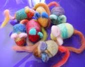 Four Needle Felted Mini Mice Wool Catnip Toys