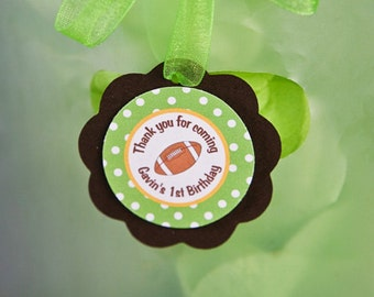 Football Theme Favor Tags - Football Birthday Party Decorations in Green & Brown