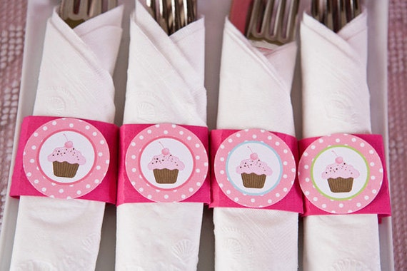 Cupcake Party Supplies - Napkin Rings - Silverware Wraps - Cupcake Party Decorations - Sweet Treats Birthday (12)