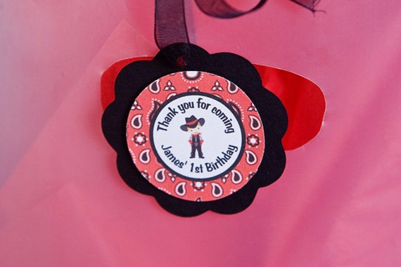 Cowboy Theme Favor Tags - Cowboy Birthday Party Decorations in Red & Black
