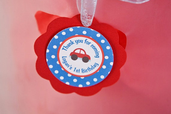 Cars Theme Favor Tags - Car Birthday Party Decorations in Red & Blue
