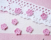 50 pcs. Super Tiny miniature 5  petals Crocheted Flowers in Pink