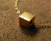 Large Brushed Vermeil Cube and 14kt Gold Fill Necklace Geometric