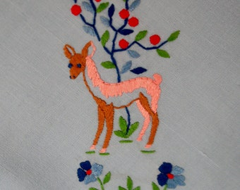 Vintage Light Blue Luncheon Tablecloth With Deer Embroidery
