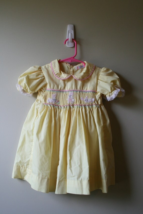 1980s HANDMADE Yellow Bunny Love Dress, size 16 to 24 months