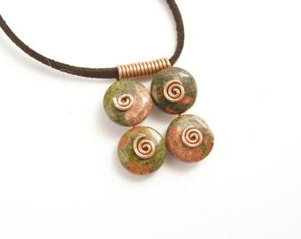Pink Salmon Green UNAKITE casual pendant  with copper spirals made in Israel