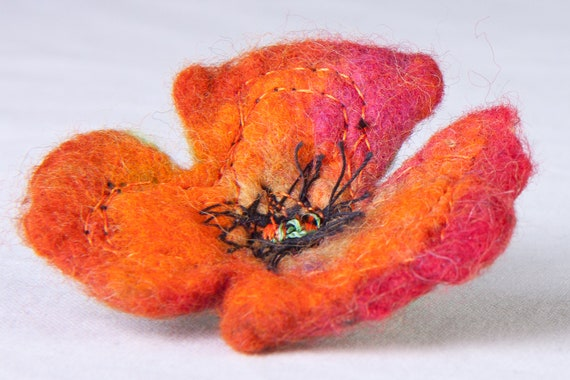Poppy flower brooch, felted embroidery pin, floral jewellery gift, embellished orange red poppy accessories, ooak nuno felted floral pin,