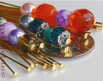 2-inch Gold Plated Brass Headpins 21-Gauge 50