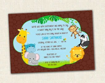 New Jungle Theme Baby Shower Invitation