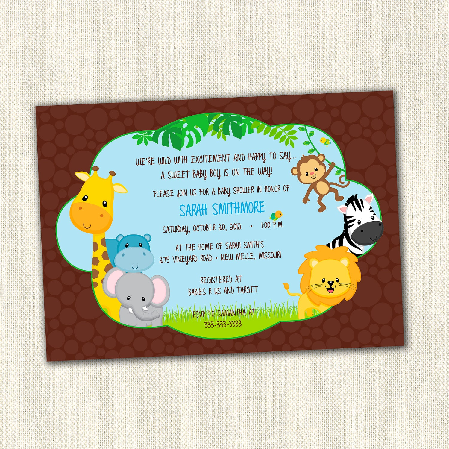 new jungle theme baby shower invitation by simplycreativemel, Baby shower