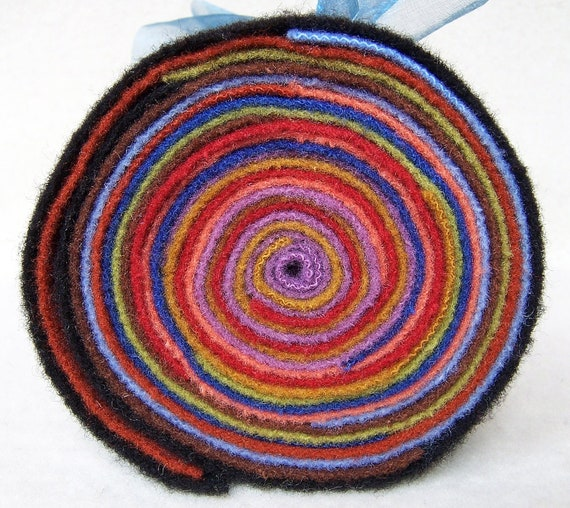 Jelly Roll of Hand Dyed Felted Wool - Colorful - JR98 / Three Sheep Studio