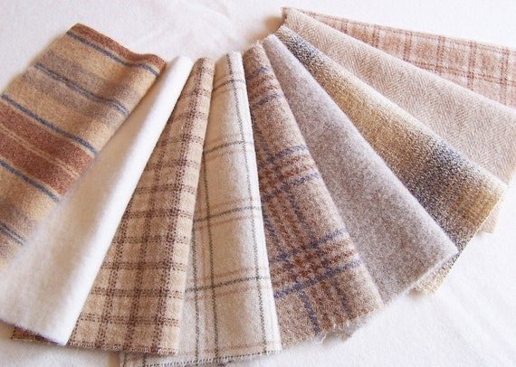 Light Neutrals / Felted Wool, 8in.x 8in. for Applique, Penny Rugs and Sewing Projects / W1138