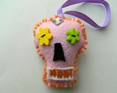 Pink Felt Day of the Dead/Dios de Los Muertos Calavera Ornament Decoration