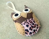 Brown Felt Owl Halloween/ Samhain Ornament Decoration