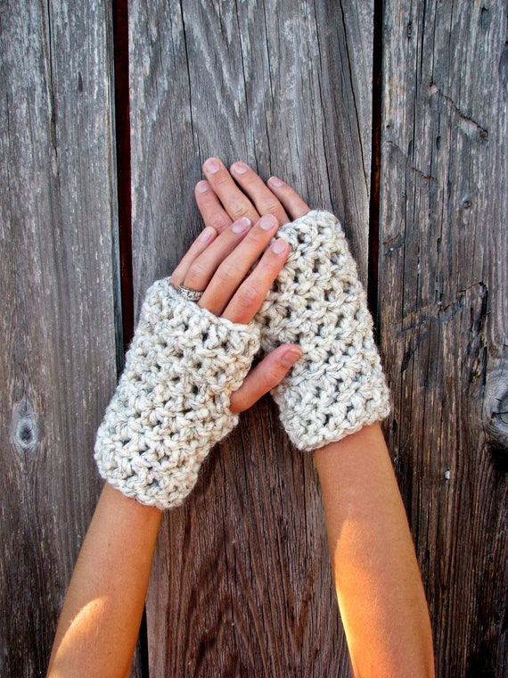 Lamb's Wool Collection - Cozy Warm Plush Chunky Wool Fingerless Gloves In Wheat - Unisex Men Boy Girl Women Cute Fashion Accessories