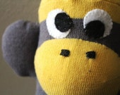 "Gray and Yellow sock monkey with Banana Pattern-""Bananas"""