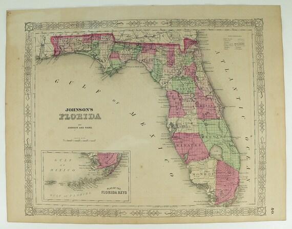 Antique 1863 Map of Florida