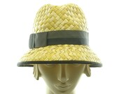 Vintage Style FEDORA HAT for Women / Yellow Racello Straw Hat / Handmade by Marcia Lacher Hats