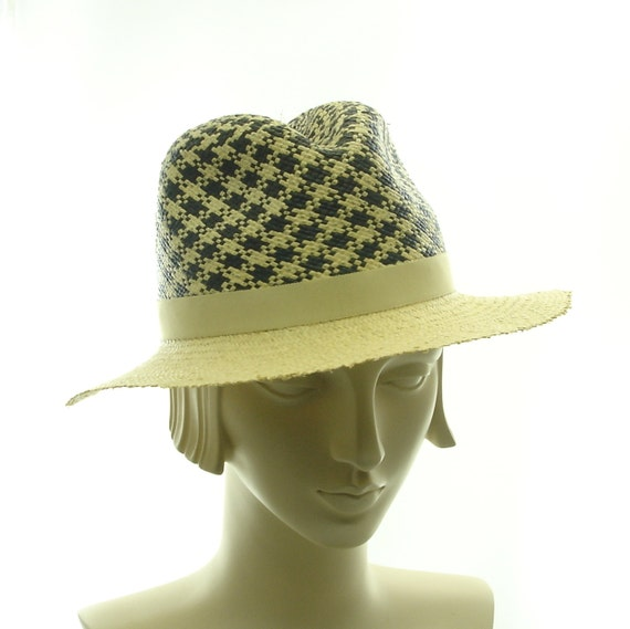 Panama Straw Hat for Women - Handmade Ladies Fedora Hat - Plaid
