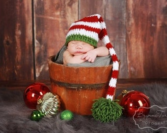Christmas Elf Hat, Christmas Photo Prop, Baby Elf Hat, Stocking Hat, Elf Costume, Long Tail Hat, Baby Girl Hat, Baby Boy Hat, Christmas Hat