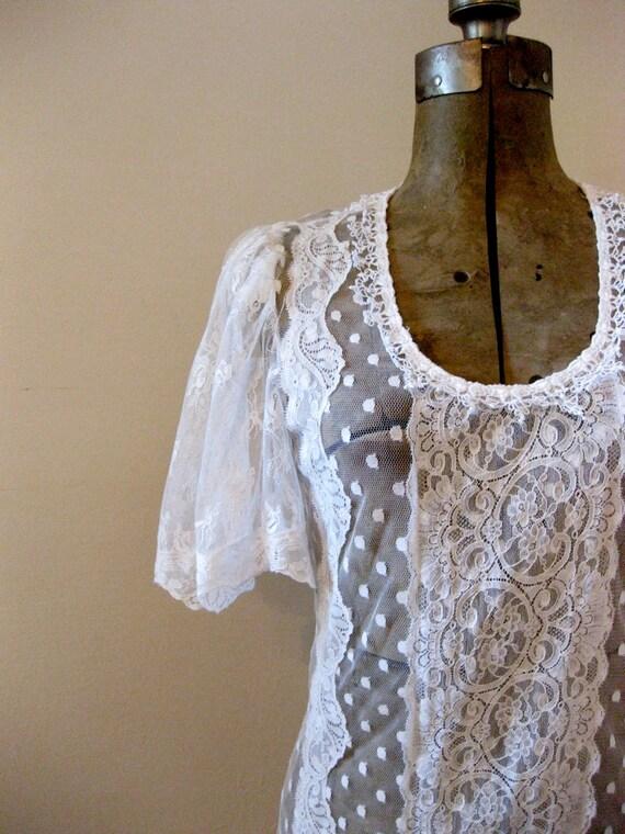 vintage 1980s // lace wedding dress // boho festival dress // small